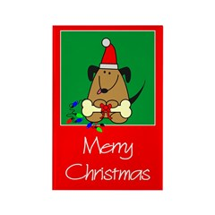 Merry Christmas Dog Rectangle Magnet (100 pack)
