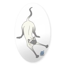 Siamese with Dreidel Oval Decal
