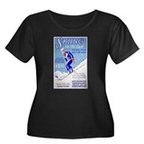 Ski Skiing Skier Women's Plus Size Scoop Neck Dark