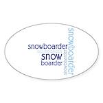 Snowboarder Winter Sport Oval Sticker