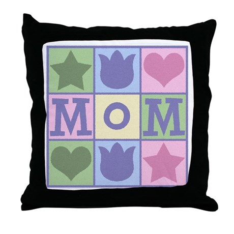 Fun Mom Quilt Squares Throw Pillow