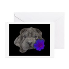Cute Black sharpei Greeting Cards (Pk of 10)
