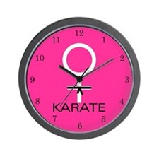 Karate Black Belt Female Wall Clock
