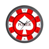 Red Spade Poker Chip Wall Clock