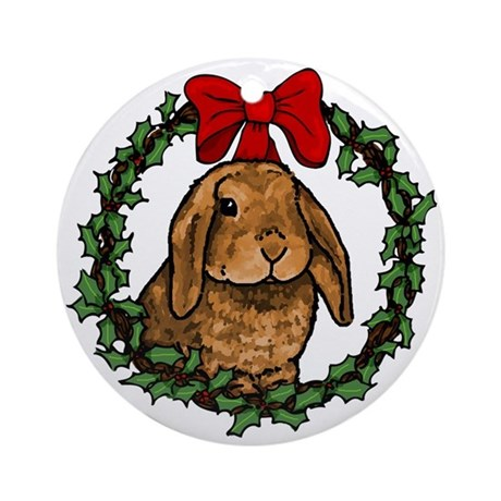 Christmas Rabbit Ornament (Round) by therabbithouse