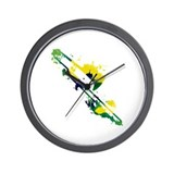 Paint Splat Trombone Wall Clock