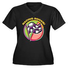 Rack 'Em Pool Women's Plus Size V-Neck Dark T-Shir