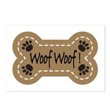 Dog Bone Paw Print Woof Postcards (Package of 8)