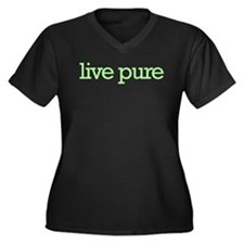 Live pure Women's Plus Size V-Neck Dark T-Shirt
