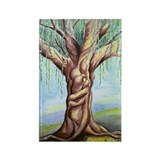 Rectangle Magnet watercolor painting willow tree