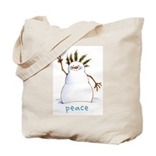 Peace Snowman Tote Bag