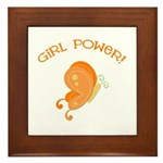 Cute Butterfly Girl Power Framed Tile