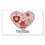 I Love Daylilies Rectangle Sticker
