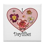 I Love Daylilies Tile Coaster