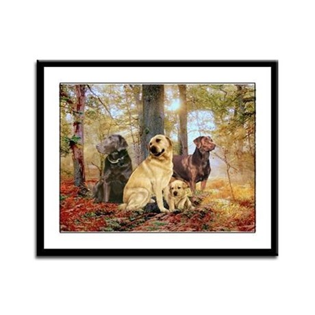 Labs In The Woods Framed Panel Print