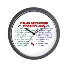 Italian Greyhound Property Laws 2 Wall Clock