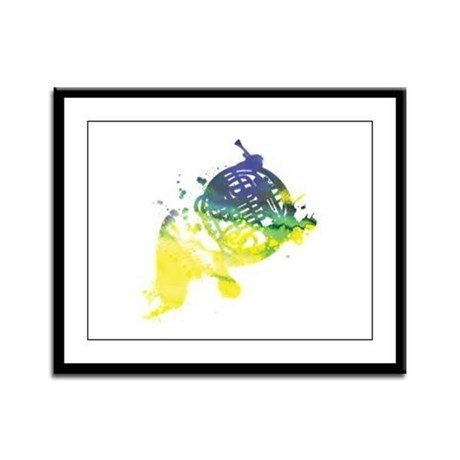 Paint Splat French Horn Framed Panel Print