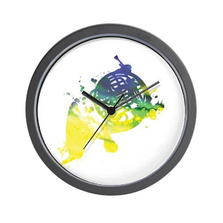 Paint Splat French Horn Wall Clock