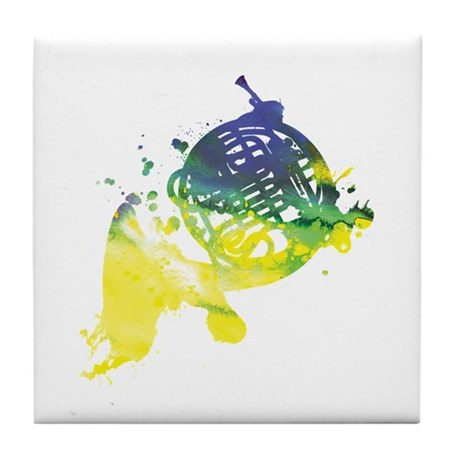 Paint Splat French Horn Tile Coaster