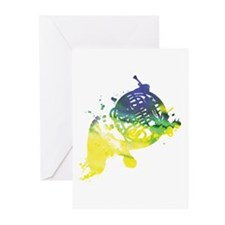 Paint Splat French Horn Greeting Cards (Pk of 10)