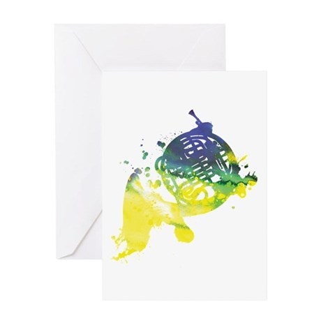 Paint Splat French Horn Greeting Card