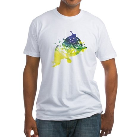 Paint Splat French Horn Fitted T-Shirt
