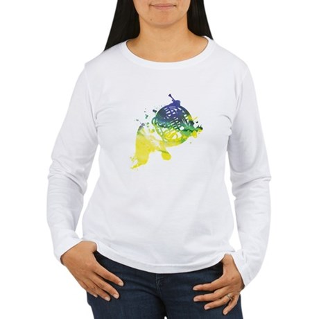 Paint Splat French Horn Women's Long Sleeve T-Shir