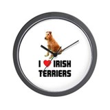 I Love Irish Terriers Wall Clock
