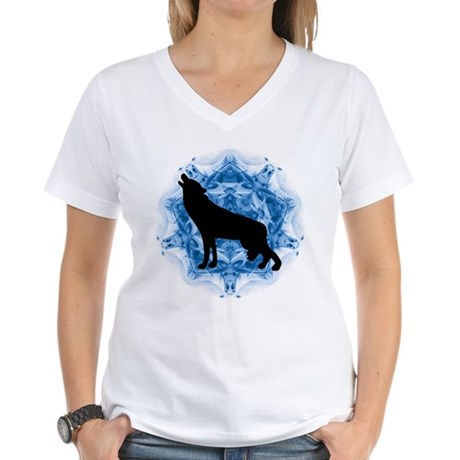Wolf Silhouette Women's V-Neck T-Shirt