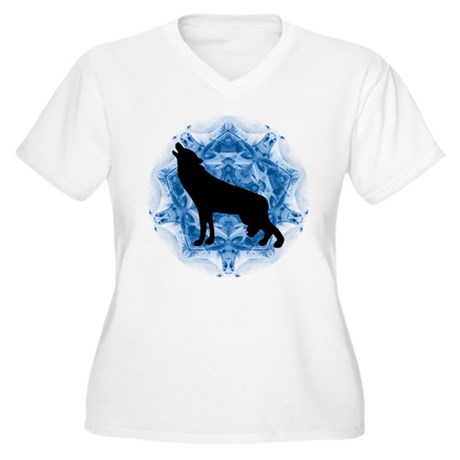 Wolf Silhouette Women's Plus Size V-Neck T-Shirt