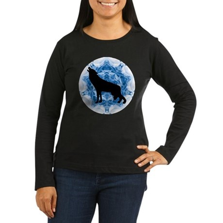 Wolf Silhouette Women's Long Sleeve Dark T-Shirt