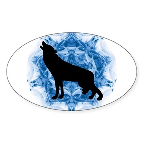 Wolf Silhouette Oval Sticker