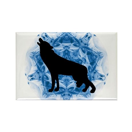 Wolf Silhouette Rectangle Magnet (100 pack)