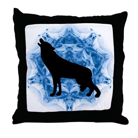 Wolf Silhouette Throw Pillow