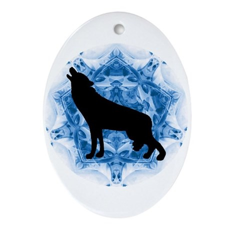 Wolf Silhouette Oval Ornament