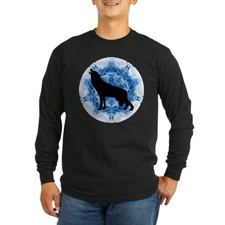 Wolf Silhouette Long Sleeve Dark T-Shirt
