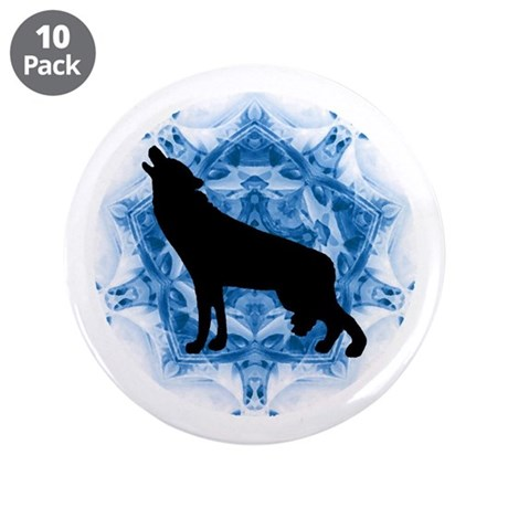 "Wolf Silhouette 3.5"" Button (10 pack)"