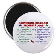 "Norwegian Elkhound Property Laws 2 2.25"" Magnet (1"