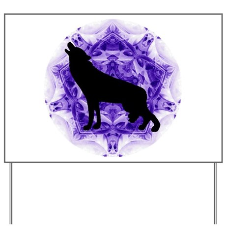 Purple Howling Wolf Yard Sign