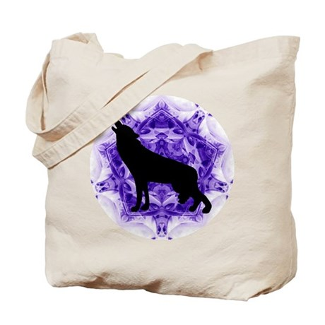 Purple Howling Wolf Tote Bag