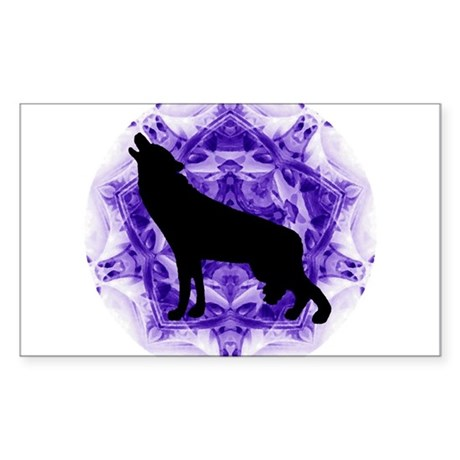 Purple Howling Wolf Rectangle Sticker