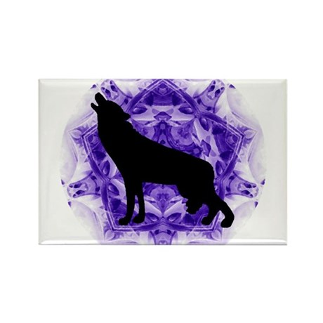 Purple Howling Wolf Rectangle Magnet