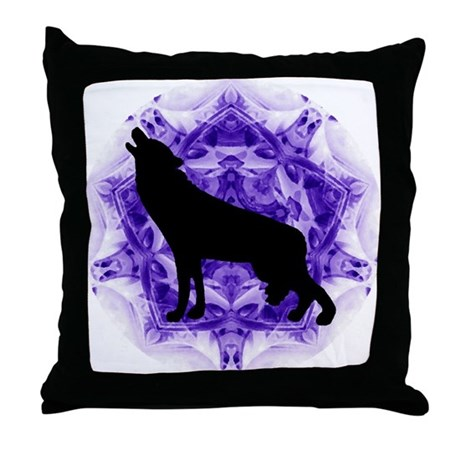 Purple Howling Wolf Throw Pillow