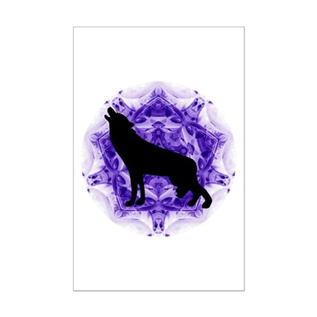 Purple Howling Wolf Mini Poster Print