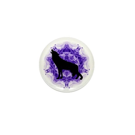 Purple Howling Wolf Mini Button (100 pack)