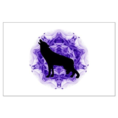 Purple Howling Wolf Large Poster