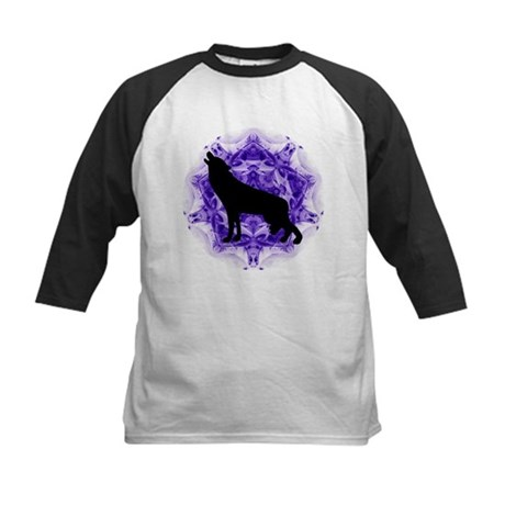 Purple Howling Wolf Kids Baseball Jersey