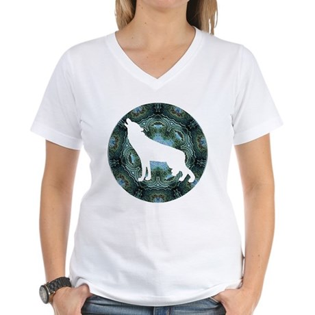 White Wolf Women's V-Neck T-Shirt