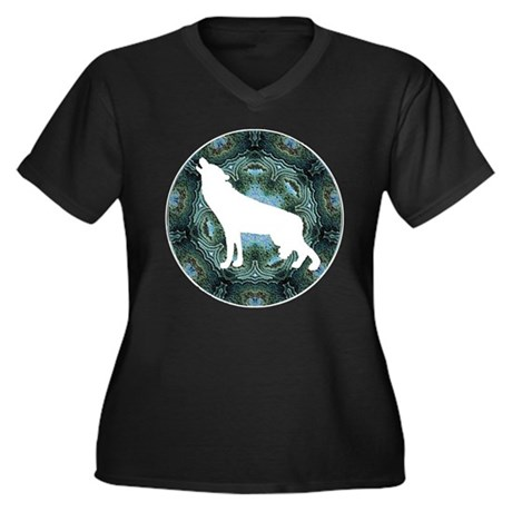 White Wolf Women's Plus Size V-Neck Dark T-Shirt