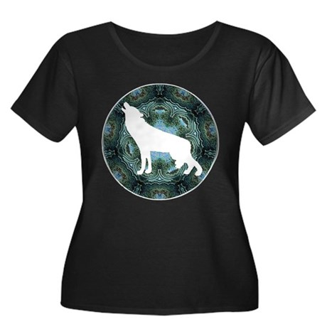 White Wolf Women's Plus Size Scoop Neck Dark T-Shi